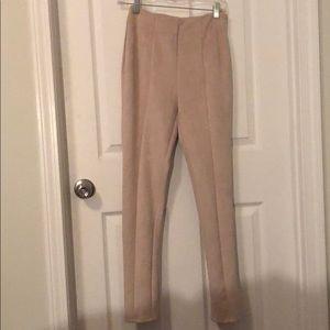 Velvet tan pants with zipper on side
